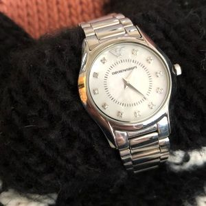 Emporio Armani mother of pearl silver watch